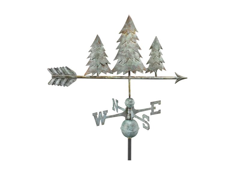(#625V1)Pine Trees Weathervane - Blue Verde Copper Image