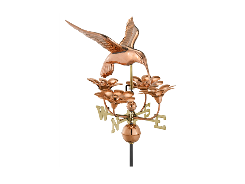 (913P) Hummingbird w/ Flowers Weathervane - Polished Copper Image